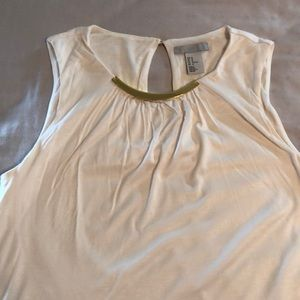 Off white blouse with gold neckline